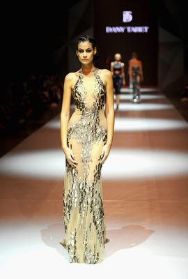 DUBAI, UNITED ARAB EMIRATES - OCTOBER 05:  A model walks the runway at the Dany Tabet show during Fashion Forward at Madinat Jumeirah on October 5, 2014 in Dubai, United Arab Emirates.  (Photo by Stuart C. Wilson/Getty Images for Fashion Forward)