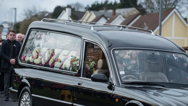 The funerals of Sean McGrotty, 46,  his two young sons Mark 12,  and Evan James, 8,  Ruth Daniels, 57, the mother of Mr McGrottys partner Louise, who was in England at the time and Ms Daniels teenage daughter Jodie-Lee,15, who died when their car slipped into the water from a slipway in Buncrana at the weekend. The only survivor of the tragedy was Mr. McGrottys baby Rioghnach James. Picture Martin McKeown. Inpresspics.com. 24.03.17