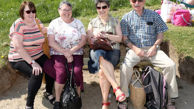 Press Eye - Crawfordsburn Beach - Weather Pictures - 28th May 2018 Photograph by Declan Roughan  (L-R) Sarah Dornan from Belfast, Margaret Mitchell from Belfast and Bobby and Sandra McKay from Holywood.