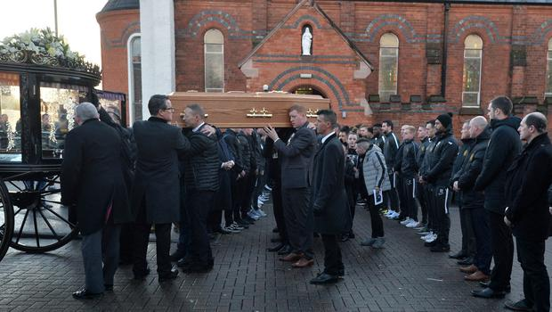 Pacemaker Press 14/12/19 The Funeral of Irish League Footballer Jerry Thompson at Sacred Heart Church  in Belfast. The north Belfast man passed away suddenly on Tuesday. A popular figure in local football, Jerry also played for Portadown, Larne, Donegal Celtic and Clifonville Olympic. Pic Colm Lenaghan/Pacemaker