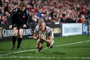 Over and out: Ulster's Dave Shanahan scores a try