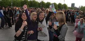 28.04.09. Picture by David Fitzgerald. Girls Aloud playing at the Odyssey Arena Belfast last night. The fans queue up outside to get in