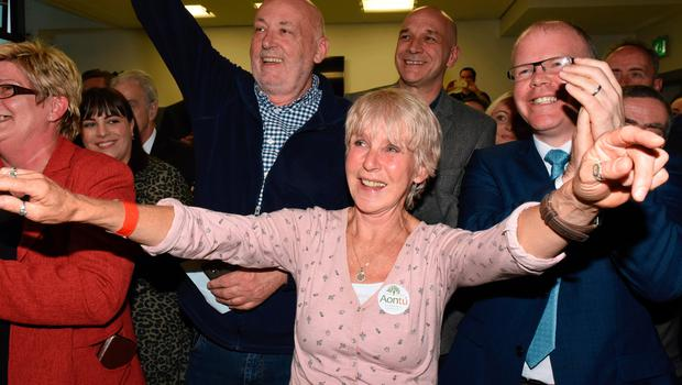 Anne McCloskey celebrates her election to Derry and Strabane District Council