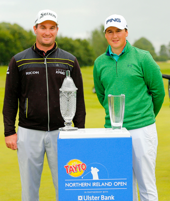 Top men: Ryan Fox, who hit a closing nine-under-par 62 to win the Tayto Northern Ireland Open trophy, is joined by triumphant Amateur Colm Campbell