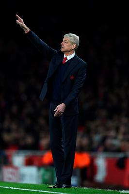LONDON, ENGLAND - FEBRUARY 23:  Arsene Wenger the manager of Arsenal reacts during the UEFA Champions League round of 16, first leg match between Arsenal FC and FC Barcelona at the Emirates Stadium on February 23, 2016 in London, United Kingdom.  (Photo by Shaun Botterill/Getty Images)