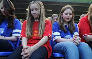 Young fans during the screening of the Hillsborough 25th Anniversary Memorial Service at Goodison Park, Liverpool