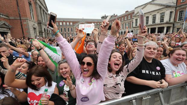 Yes campaigners in Ireland celebrate (Niall Carson/PA)