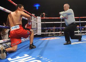 Carl Frampton stops Hugo Cazares during their title eliminator fight at the Odyssey Arena in Belfast