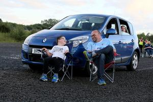 PACEMAKER PRESS BELFAST 31/7/2020 Ballymena United suppporters gathered at a drive-in screening of the match against Glentoran at Ballymena Showgrounds in order to facilitate social distancing.  Photo Pacemaker Press