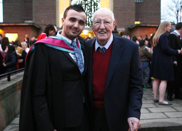 Mandatory Credit - Picture by Freddie Parkinson/Press Eye © Thursday 8th December 2016 Graduations take place at Queens University in Belfast. Michael Rea from Jordanstown and his Grandfather Noel Rea.