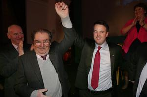 SDLP Conference, St Columb's Hall, Derry 12th March 2016. SDLP Leader Colm Eastwood John Hume at the conclusion of the conference Photo:Presseye.
