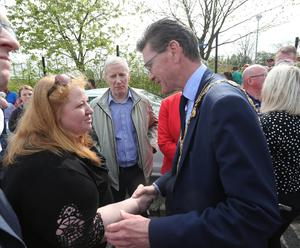 Press Eye - Belfast - Northern Ireland - 19th April 2019 -  Photo by Lorcan Doherty  / Press Eye.  The community vigil held on Fanad Drive, Creggan, following the murder of 29 years-old Lyra McKee.  Alliance Party leader Naomi Long, with Mayor Councillor John Boyle.