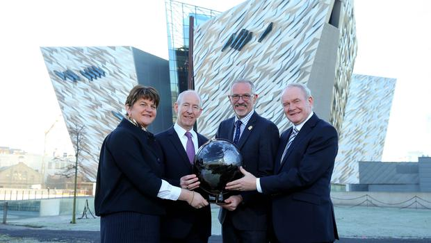 First Minister and Deputy First Minister pictured alongside Titanic Belfast CEO Tim Husband and Vice Chairman Conal Harvey
