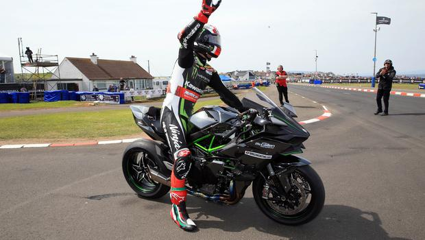 PACEMAKER BELFAST  19/05/2018 North West 200 2018 World Superbike Champion Jonathan Rea on a parade lap of the course during this years North West 200. Photo Stephen Davison/Pacemaker Press
