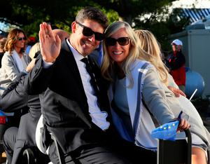CHASKA, MN - SEPTEMBER 29: Vice-captain Padraig Harrington of Europe and Caroline Harrington attend the 2016 Ryder Cup Opening Ceremony at Hazeltine National Golf Club on September 29, 2016 in Chaska, Minnesota.  (Photo by Andrew Redington/Getty Images)