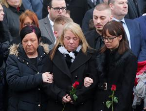 Funeral of murder victim Ian Ogle at Covenant Love Church on the Albertbridge Road in east Belfast.  The 45-year-old died after being assaulted by several people at Cluan Place area of east Belfast last week.   Ian Olge's family including his son Ryan and daughter Toni pictured at the funeral.   Picture by Jonathan Porter/PressEye