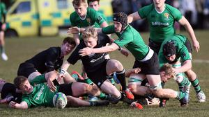Mandatory Credit - Picture by Freddie Parkinson/Press Eye Saturday 7th February 2015 Danske Bank Schools Cup Sullivan Upper School, Belfast Road, Holywood Sullivan Upper vs Campbell College Cameron Stweart ans Sullivan's Captain Max Clarke.
