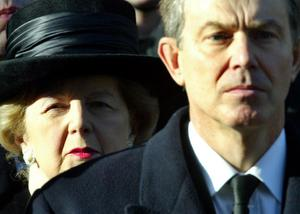 File photo dated 14/11/04 of Former Prime Minister Margaret Thatcher and Tony Blair during the annual National Service of Remembrance at the Cenotaph, London. PRESS ASSOCIATION Photo. Issue date: Monday April 8, 2013. Baroness Thatcher died this morning following a stroke, her spokesman Lord Bell said. See PA story DEATH Thatcher. Photo credit should read: Andrew Parsons/PA Wire