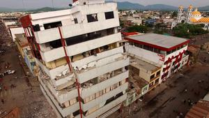 Aeril view taken by a drone after a 7.8-magnitude quake in Portoviejo, Ecuador on April 17, 2016.  At least 235 people were killed when a powerful earthquake struck Ecuador, destroying buildings and a bridge and sending terrified residents scrambling from their homes, authorities said Sunday. / AFP PHOTO / Pablo COZZAGLIOPABLO COZZAGLIO/AFP/Getty Images