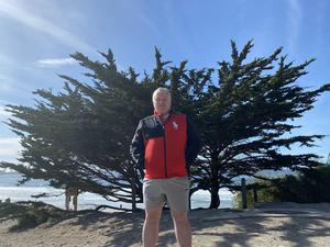 Stephen Nolan at his favourite tree - Carmel by the sea in USA