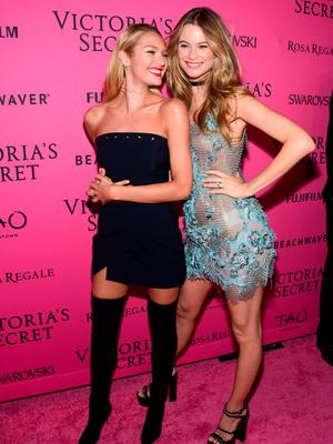 NEW YORK, NY - NOVEMBER 10:  Candice Swanepoel (L) and Behati Prinsloo attend the 2015 Victoria's Secret Fashion After Party at TAO Downtown on November 10, 2015 in New York City.  (Photo by Grant Lamos IV/Getty Images)