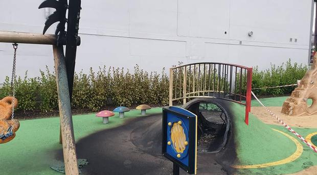 Damage caused to the play park. Pic Mark Gibbons.