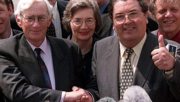 PACEMAKER BFST 01-07-98; SDLP Party  Leader John Hume shakes the hand of Seamus Mallon after he ruled himself out for the post of Second Minister of the new Northern Ireland Assembly and nominated his Deputy Seamus Mallon instead