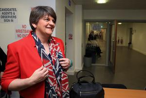 First Minister Arlene Foster (DUP) arriving today Saturday for The Northern Ireland Assembly Election 2016 at Omagh Leisure Centre.  picture by John McVitty / Press Eye