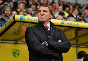 NORWICH, ENGLAND - APRIL 20:  Manager Brendan Rodgers of Liverpool looks on during the Barclays Premier League match between Norwich City and Liverpool at Carrow Road on April 20, 2014 in Norwich, England.  (Photo by Michael Regan/Getty Images)