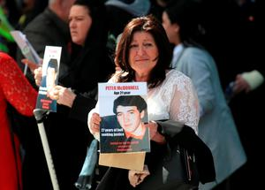 WARRINGTON, ENGLAND - APRIL 26:  Relatives of Hillsborough victims show their emotions as they depart Birchwood Park after hearing the conclusions of the Hillsborough inquest on April 26, 2016 in Warrington, England. The fresh inquests into the 1989 Hillsborough disaster, in which 96 football supporters were crushed to death, concluded on April 26, 2016 with a verdict of unlawful killing, after the initial verdicts were quashed. Relatives of Liverpool supporters who died in Britain's worst sporting disaster gathered in the purpose-built court to hear the jury's verdict in Warrington after a 25 year fight to overturn the accidental death verdicts handed down at the initial 1991 inquiry.  (Photo by Christopher Furlong/Getty Images)