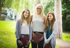 A-Level results day 2016 - Eve Wilson, Natalie Clendinning , Kathryn Kerr of Victoria Collage on the 18th August 2016, Belfast , Northern Ireland ( Photo by Kevin Scott / Belfast Telegraph )
