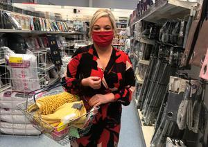Deputy First Minister Michelle O'Neill wears a mask while out shopping