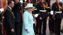 COLERAINE, NORTHERN IRELAND - JUNE 25:  Queen Elizabeth II attends a service at the war memorial on June 25, 2014 in Coleraine, Northern Ireland. The Royal party are visiting Northern Ireland for three days.  (Photo by Peter Macdiarmid/Getty Images)