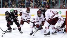 Northeastern Huskies take on the Colgate Raiders in last year's Friendship Four final at the SSE Arena (William Cherry/PressEye)