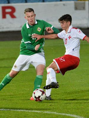 Pacemaker Press 6/09/19 Northern Ireland  v Malta U21 Euro Qualifier  N Ireland's Kyle McClean   and Malta's Jan Busuttil during this evening's game at the Ballymena Showgrounds.  Pic Colm Lenaghan/Pacemaker