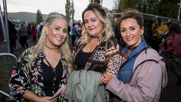 L-R Lindsey McCole, Nicola McMonagle, and Christina Harkin out to see Ed Sheeran performing at Boucher Road Playing Fields, Belfast. Wednesday 9th May 2018. Picture by Liam McBurney/RAZORPIX