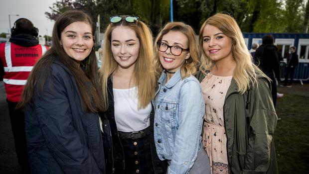 L-R Aine Crossan, Shannagh Taylor, Orlaith Crossan, and Maeve Magee out to see Ed Sheeran performing at Boucher Road Playing Fields, Belfast. Wednesday 9th May 2018. Picture by Liam McBurney/RAZORPIX