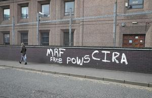 General view of graffiti in Ballymena town centre after the graffiti attack. Photo by Kelvin Boyes / Press Eye.