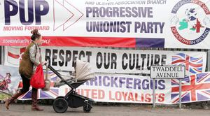 The loyalist protest camp at Twaddell Avenue last year
