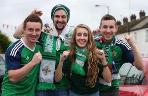 Press Eye - Belfast - Northern Ireland - 8th October 2016 -Picture by Brian Little/PressEye  Northern Ireland fans Matthew Denny,David Irwin,Matthew Irwin and Rachel Walker  attending    The National Football Stadium at Windsor Park Opening Game and Ceremony before Northern Ireland vs San Marino 2018 FIFA World Cup Qualifier Photo by Brian Little/ Press Eye