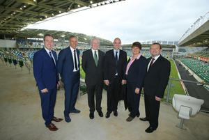 Press Eye - Belfast - Northern Ireland - 8th October 2016 -   The National Football Stadium at Windsor Park Opening Game and Ceremony  Northern Ireland vs San Marino 2018 FIFA World Cup Qualifier  First Minister Arlene Foster and Deputy First Minister Martin McGuinness are pictured with Communities Minister Paul Givan, Marco Van Basten, FIFA President, Gianni Infantino and Irish FA President, David Martin before the official opening ceremony.  Photo by Kelvin Boyes / Press Eye