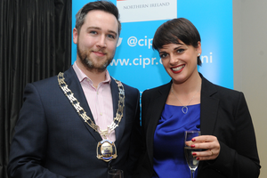Gary McKeown and Lisa Hamilton Sturdy at the Fitzwilliam Hotel for the 2013 CIPR Christmas Social