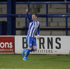 Coleraine's Stewart Nixon celebrates his goal. Credit: Desmond Loughery/Pacemaker Press
