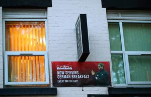 LIVERPOOL, ENGLAND - OCTOBER 17:  A local guesthouse advertises its German breakfast near to the stadium before the Premier League match between Liverpool and Manchester United at Anfield on October 17, 2016 in Liverpool, England.  (Photo by Clive Brunskill/Getty Images)