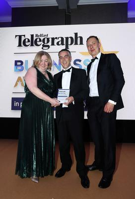 Press Eye - Belfast - Northern Ireland - 2nd May 2019 -   The Belfast Telegraph Business Awards in association with Ulster Bank at the Crowne Plaza Hotel, Belfast.  IT Company or Team of the Year Sponsored by Carson McDowell Lorna McAdoo and John Harrower from Version1 Presented by Declan Magee, Joint Head of Litigation, Carson McDowell  Photo by Kelvin Boyes / Press Eye.