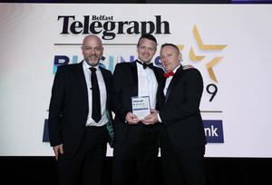 Press Eye - Belfast - Northern Ireland - 2nd May 2019 -   The Belfast Telegraph Business Awards in association with Ulster Bank at the Crowne Plaza Hotel, Belfast.   Excellence in Workplace Health and Wellbeing award Sponsored by the Public Health Agency Eamon Bunting and Stephen Baker from Outsource Solutions (NI) Limited Presented by Brendan Bonner, Assistant Director of Public Health and Health and Social Wellbeing Improvement for PHA  Photo by Kelvin Boyes / Press Eye.