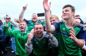 Northern Ireland fans show their support at the official fan zone at The Titanic Belfast, Belfast. PRESS ASSOCIATION Photo. Picture date Thursday June 16, 2016. See PA story SPORT Euro 2016 Belfast. Photo credit should read: Brian Lawless/PA Wire
