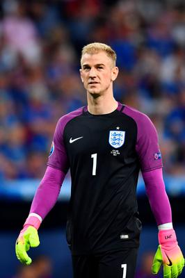 England's goalkeeper Joe Hart reacts during the Euro 2016 round of 16 football match between England and Iceland at the Allianz Riviera stadium in Nice on June 27, 2016. / AFP PHOTO / BERTRAND LANGLOISBERTRAND LANGLOIS/AFP/Getty Images