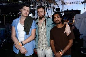 INDIO, CA - APRIL 13:  (L-R) Musicians Ira Wolf Tuton, Chris Keating, and Anand Wilder of Yeasayer pose backstage at day 2 of the 2013 Coachella Valley Music & Arts Festival at The Empire Polo Club on April 13, 2013 in Indio, California.  (Photo by Frazer Harrison/Getty Images for Coachella)