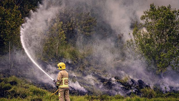 Fire fighters battle a large gorse fire close to the Glen Road Heights area west Belfast on May 26th 2020 (Photo by Kevin Scott for Belfast Telegraph)